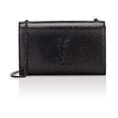 Saint Laurent Monogram Kate Medium Chain Bag ($2,290) ❤ liked on Polyvore featuring bags, handbags, black, logo bags, strap purse, chain bag, chain strap bag and monogrammed purses