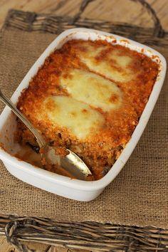Gratinado de quinoa com beringela e queijo