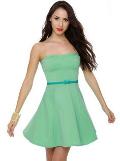 A Flare to Remember Mint Strapless Dress ($40