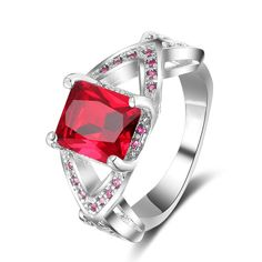 1 Ct Ruby Engagement Rings For Women 925 Sterling Silver Red Gemstone Ring  #JewelsForum #EngagementRing #Anniversary