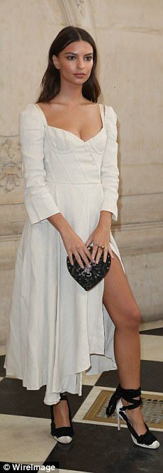 Here come the girls: Emily Ratajkowski stunned in a lace dress as she joined Naomi Watts, Karlie Kloss and Winnie Harlow at the Christian Dior Spring/Summer 2018 show during Paris Fashion Week