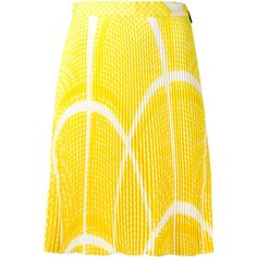 MSGM geometric pattern pleated skirt (2.495 HRK) ❤ liked on Polyvore featuring skirts, yellow skirt, geometric print skirt, geometric skirt, knee length pleated skirt and msgm