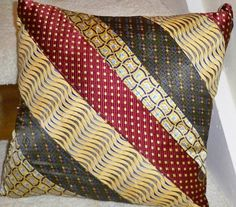 Items similar to Yellow Mens Necktie Pillow on Etsy Mens Ties Crafts, Tie Crafts, Tie Pillows, Sewing Pillows, Cushions, Necktie Quilt, Sewing Projects, Sewing Crafts, Old Ties
