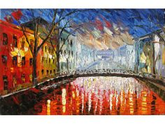 Painting Night Memories 23x36 Original Oil Palette Knife Wall Contemporary Colorful Reflections Home decor Street Rain Cityscape Modern ART by Marchella