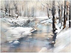 Акварель. Зимние пейзажи Tomas Schaller