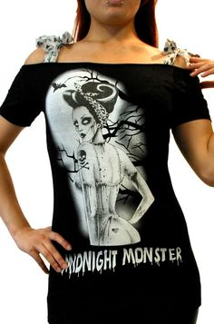 Too Fast Midnight Monster Annabel Bow Women's Top