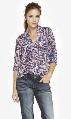 FLORAL PLAID CONVERTIBLE SLEEVE PORTOFINO SHIRT from EXPRESS