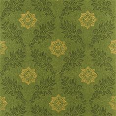 Green and gold medallion wallcovering. Thibaut Damask Resource V 2
