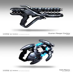Weapon Concepts – Mass Effect 3    Brian Sum. These guns in particular have a very unique and cool design. The one below is small compact and seems to be a handgun, the thing that tells us this is the size of the grip itself. The top one shows no neon lights but the unique cylinder that runs through it defines it as sci-fi.   (Videogame-art.2012)