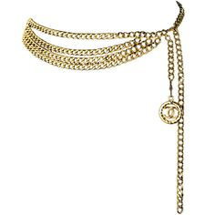 Pre-owned Vintage Chanel Gold Chain Belt with Chanel Logo Dangle ($850) ❤ liked on Polyvore featuring accessories, belts, jewelry, chanel, cintos, logo belts, adjustable belt, hook belt and vintage belt