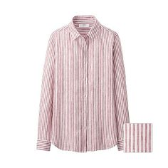 WOMEN Premium Linen Stripe Long Sleeve Shirt - Pink