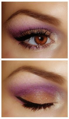 Cool color combo-brown/gold and purple eyeshadow.