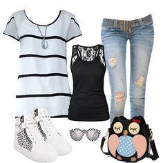 Love or not? #CasualOutfit #Top #Blouse #Jeans #Handbag #Shoes #Fashion #FreshFashion