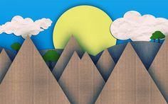 Cardboard Mountains...could even paint them. Add Sun, clouds & trees. Masterpiece!