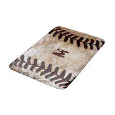 Monogrammed Vintage Baseball Bath Rug For Man Cave