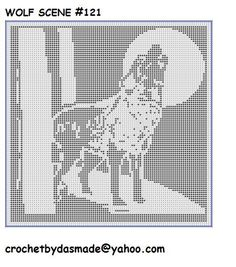 121 Wolf Howling at Moon Filet Crochet Doily Afghan Pattern