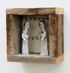 hand embroidery diorama- connection no 2 textile art fiber art