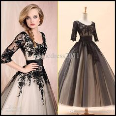 Wholesale 2014 Black White In Stock Cocktail Dresses A-Line Crew Black Appliques 3/4Long Sleeve Tea-Length Prom Evening Dresses Party Dress, Free shipping, $60.32/Piece | DHgate Mobile