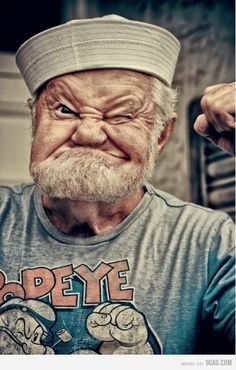 He looks like a real life popeye isn't he?