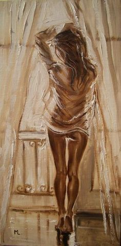 """"""" YOUR SHIRT ... """" - original oil painting on canvas, palette knife by Monika Luniak"""