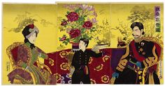 Emperor Meiji, his wife and the Crown Prince, later Emperor Taisho Modern World History, Asian History, Japanese History, Meiji Restoration, Meiji Era, Japanese Prints, Japanese Culture, Woodblock Print, Emperor