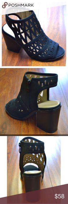 Peep Toe Bootie Sandals Black cut out, sling back, peep toe sandal bootie. Trending chunky heel. Great staple to any wardrobe. Threads & Trends Shoes Sandals