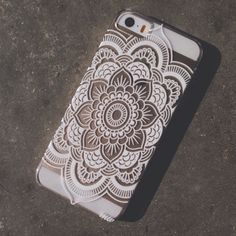 "Clear Plastic Case Cover for iPhone 6Plus (5.5"") Henna Full Mandala pattern ethnic hipster mayan teal dream catcher dreamcatcher floral flower"