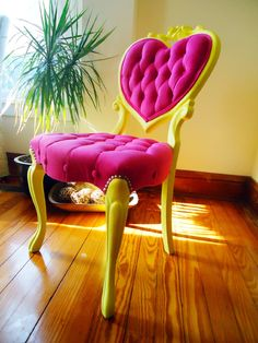 Velvet Tufted Antique Victorian Heart Back Chair - Upcycled - Magenta & Yellow. $575.00, via Etsy.
