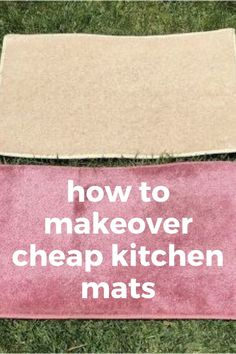 Upgrade a cheap kitchen or bathroom mat with a shower curtain. How to update cheap rugs with shower curtain. #dollarstoredecorating #cheaprugmakeover #diydollarstore
