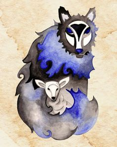 Wolf & Lamb 8x10 by thewoodlandbrush on Etsy (so incredibly beautiful)