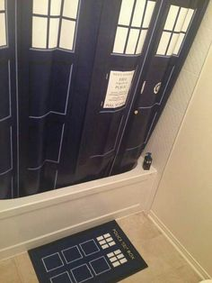 Tardis Shower Curtain. It's bigger on the inside.