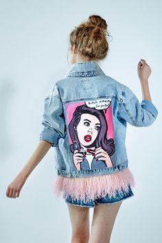 "Hand - painted denim jacket ""Bitch please, I'm perfect!"""