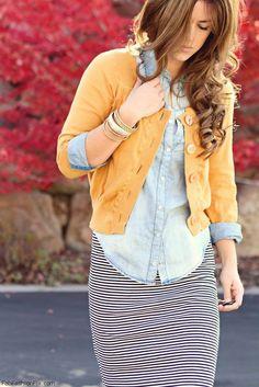 yellow jacket, skirt, denim shirt @roressclothes closet ideas #women fashion  outfit #clothing style apparel