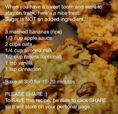 Sugar-less, flour-less raisin banana cookies