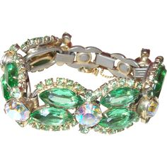 D&E Juliana Green Rhinestone Bracelet with large Aurora Borealis Crystals
