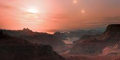 Artist's impression of a sunset on an exoplanet around Proxima Centauri.