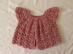 How to crochet a pretty shell stitch cardigan / sweater - baby and girl'...
