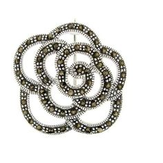 Glitzy Rocks High-polish Sterling Silver Brown Round Marcasite Rose... ($36) ❤ liked on Polyvore featuring jewelry, brooches, white, flower jewelry, white jewelry, flower jewellery, rose jewelry and drusy jewelry