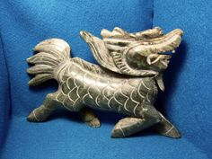 Beautiful Old Chinese Green Jade Carved Dragon Statue !!