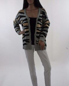 New ladies Grey black and gold knitted cardigan #Unbranded #Cardigans