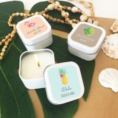 Personalized Candle Tin Wedding Favors with tropical beach designs. Unique candle favors for beach weddings or as destination wedding favors. Destination Wedding Favors, Candy Wedding Favors, Wedding Favors For Guests, Unique Wedding Favors, Bridal Shower Favors, Wedding Ideas, Wedding Planning, Handmade Wedding, Fall Wedding