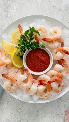 Gourmet Appetizers, Quick And Easy Appetizers, Shrimp Cocktail Sauce, Food Videos, Recipe Videos, Frozen Shrimp, Fresh Salsa, Cooking 101, How To Cook Shrimp