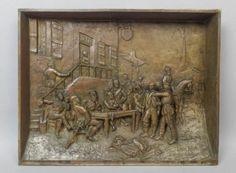Superb-19c-French-L-Pilet-Bronze-Franco-Prussian-The-Spy-War-Relief-Sculpture