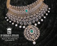A collection of multi purpose jewellery with diamond, emerald and ruby embellishments by Shankarlal Jewellers. Diamond Choker, Diamond Jewelry, Diamond Pendant, Simple Necklace, Heart Pendant Necklace, Marriage Jewellery, Moon Jewelry, Jewlery, Diamond Design