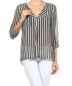 Look at this Ellen Clothing Black Everyday Sheer Stripe Top on #zulily today!