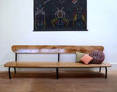 Banc d'écolier vintage en chêne Sofa Seats, Entryway Bench, Sofas, Small Bench, Living Room Furniture, Staircases, Hall Bench, Couches, Foyer Bench