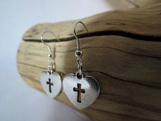 Handmade Heart Cross Earrings