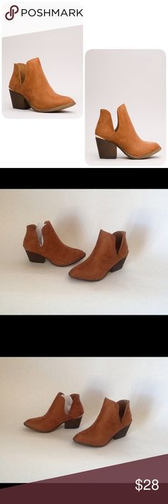 Cognac Block Heel Booties These booties are New and have Never been Worn. Heel height is 2.5 inches. They don't come with a Box!! Liliana Shoes Ankle Boots & Booties