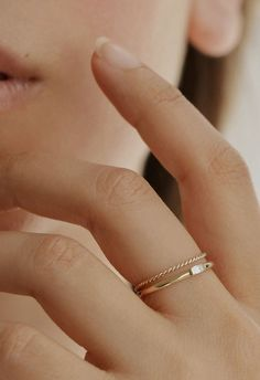 Modern and minimal stacking rings by Vrai & Oro.