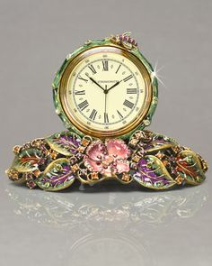 Mayfair Leaf & Bee Clock by Jay Strongwater at Neiman Marcus.